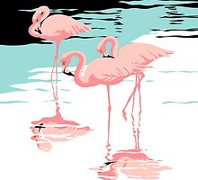 Pink Flamingos tropical abstract retro pop art by Walt Curlee