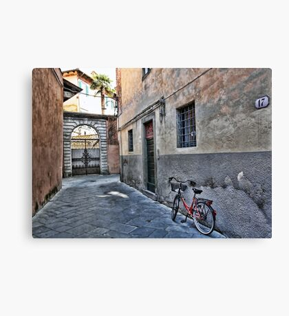 -Red Bicycle - Village of Amalfi,  Italy Canvas Print