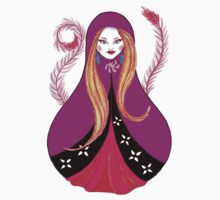 Matryoshka with Pink Feathers  by Almonda