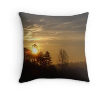 Sunrise Over Woodland - Fawler, Oxfordshire Throw Pillow