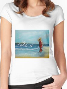 Joy of Freedom  pastel painting Women's Fitted Scoop T-Shirt