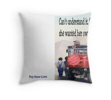 Bus of her own Throw Pillow