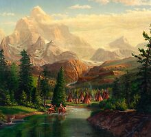 Indian Village Trapper western mountain landscape - Native Americans by Walt Curlee