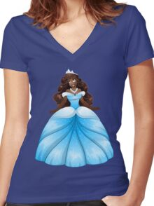 African Princess In Blue Dress Women's Fitted V-Neck T-Shirt