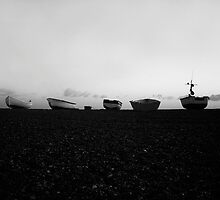 Boats at Sunrise - Cley, Norfolk (Black and White) by Reuben Vick