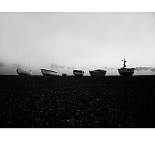 Boats at Sunrise - Cley, Norfolk (Black and White) Photographic Print