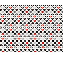 Red and Black Lips Pattern Photographic Print