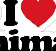 I Love Heart Animals Sticker Sticker