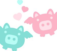 Pastel Flying Pigs in Love by XOOXOO