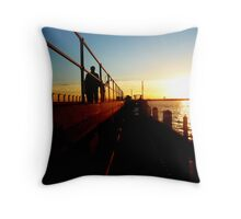 Sunset On St Kilda Beach Pier Throw Pillow
