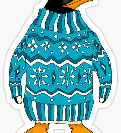 cute penguin in sweater Sticker