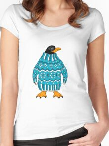 cute penguin in sweater Women's Fitted Scoop T-Shirt