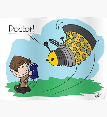 Eleventh Doctor vs a Dalek ... Peanuts Style Poster