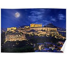 Full moon over the Acropolis Poster
