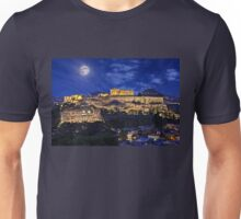 Full moon over the Acropolis Unisex T-Shirt