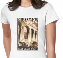 Rare Scotland Vintage Travel Poster Restored Womens Fitted T-Shirt