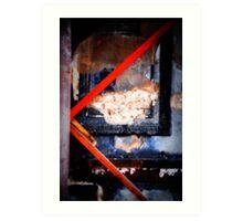 charred frame on wall Art Print