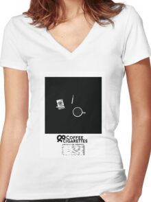 Coffee & Cigarettes Poster Women's Fitted V-Neck T-Shirt