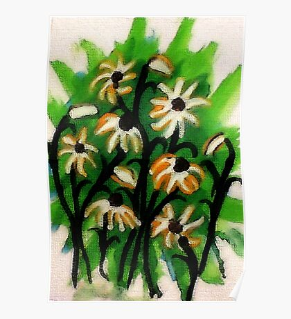 Daisies  to lift you up #2 blue /green backround, watercolor Poster