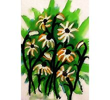 Daisies  to lift you up #2 blue /green backround, watercolor Photographic Print