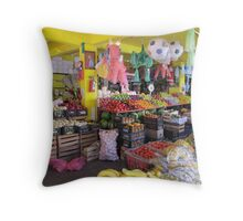 Colourful mexican farmers market Throw Pillow