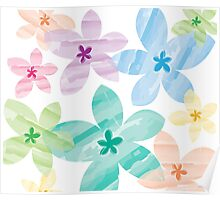 Overlapping Flowers Poster