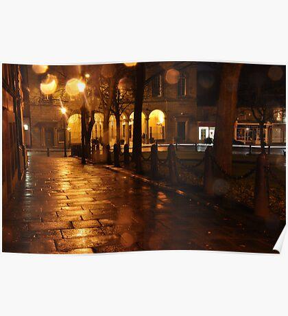 Glossop one wet autumn evening Poster