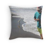Fisherman with egrets - Pescador con garzas blancas Throw Pillow
