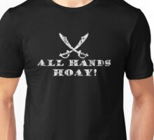 All Hands Hoay - Pirate Quote Vintage White Unisex T-Shirt