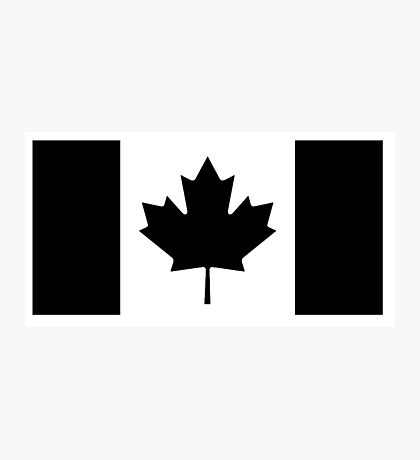 CANADA, CANADIAN, Canadian Flag, National Flag of Canada, Funeral, Mourning, A Mari Usque Ad Mare, Pure & Simple, in BLACK,  Photographic Print