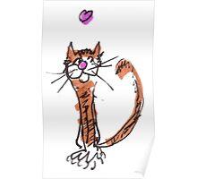 Orange Love Cat Poster