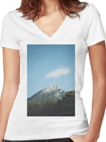 Mountains in the background VIII Women's Fitted V-Neck T-Shirt