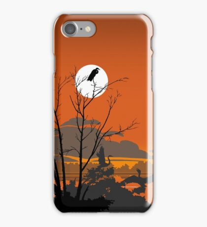 Abstract Florida Everglades Tropical Birds Orange Sunset Landscape iPhone Case/Skin