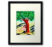 Secret meditation spot  naked, watercolor Framed Print