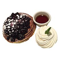 Blueberry Pancakes with Syrup and Whipped Cream Photographic Print