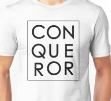 More than Conquerors - Black on White Unisex T-Shirt
