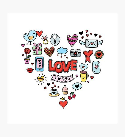 Cute love symbols Photographic Print