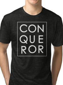 More than Conquerors - White on Black Tri-blend T-Shirt