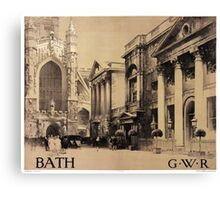 Rare Bath Vintage Travel Poster Restored Canvas Print