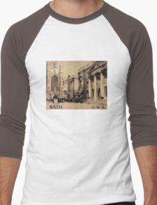 Rare Bath Vintage Travel Poster Restored Men's Baseball ¾ T-Shirt