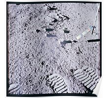 Apollo Archive 0085 Moon Color Telltale and Footprints on Lunar Surface Poster