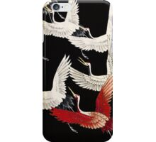 Scarf version of Wild cranes in Black iPhone Case/Skin