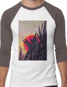 Red Heat (with Dragonflies) Men's Baseball ¾ T-Shirt