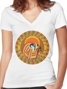 Egyptian god of sun Ra Women's Fitted V-Neck T-Shirt
