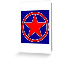 RED, STAR, CIRCLE, BADGE, Stardom, Power to the people! Red Dwarf, Stellar, Cosmic Greeting Card