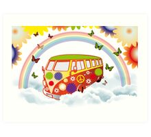 Flower power - Retro van illustration Art Print