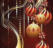 Decorative Gold Xmas Balls 4 by AnnArtshock