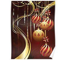 Decorative Gold Xmas Balls 4 Poster