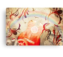 Retro guitar background Canvas Print