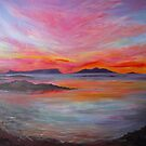 Sunset over Eigg &amp; Rum from Morar by artyfifi